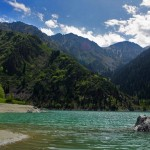Alpine lake Issyk beautiful sceneries