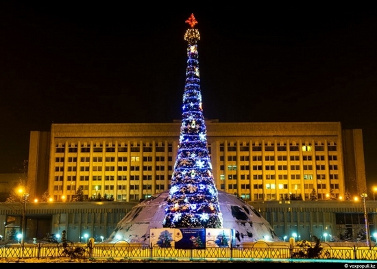 Kazakhstan cities New Year decorations view 18
