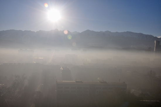 Almaty city, Kazakhstan smoky fog view 1