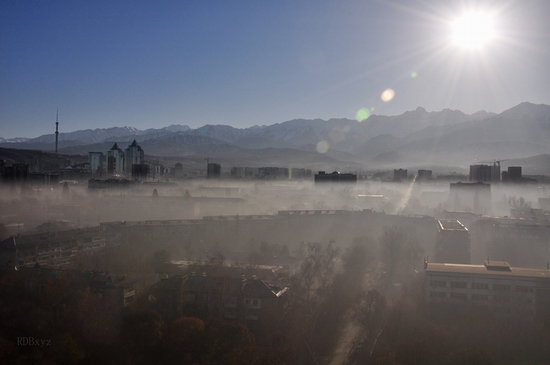 Almaty city, Kazakhstan smoky fog view 2