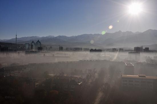 Almaty city, Kazakhstan smoky fog view 2