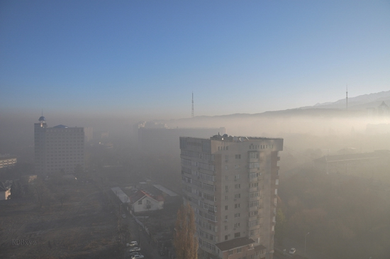 Almaty city, Kazakhstan smoky fog view 4