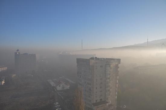 Almaty city, Kazakhstan smoky fog view 4