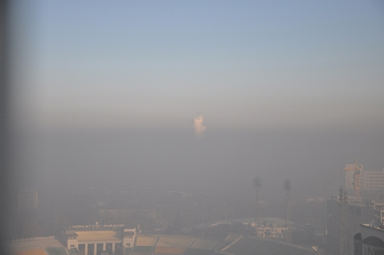 Almaty city, Kazakhstan smoky fog view 5