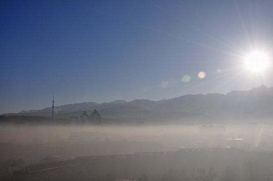 Almaty city, Kazakhstan smoky fog view 6