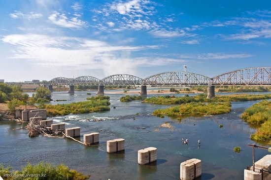 Semey city, Kazakhstan Irtysh river bridge