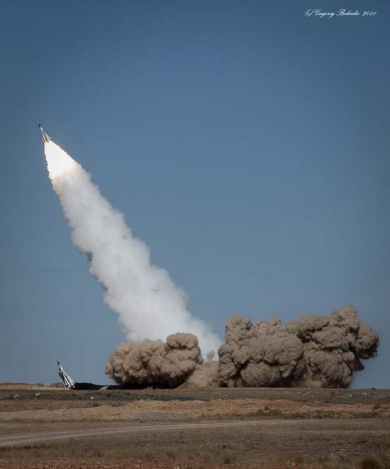Missile firing, Sary-Shagan testing ground, Kazakhstan view 1