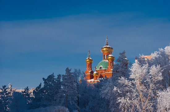 Frosty Pavlodar city, Kazakhstan view 1