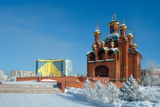 Frosty Pavlodar city, Kazakhstan view 12