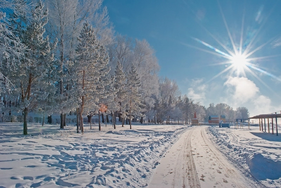 Frosty Pavlodar city, Kazakhstan view 3
