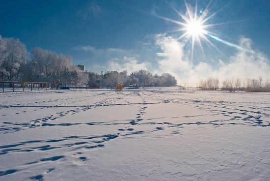 Frosty Pavlodar city, Kazakhstan view 4