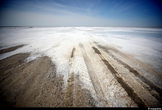 Salt production, the Aral Sea area, Kazakhstan view 1