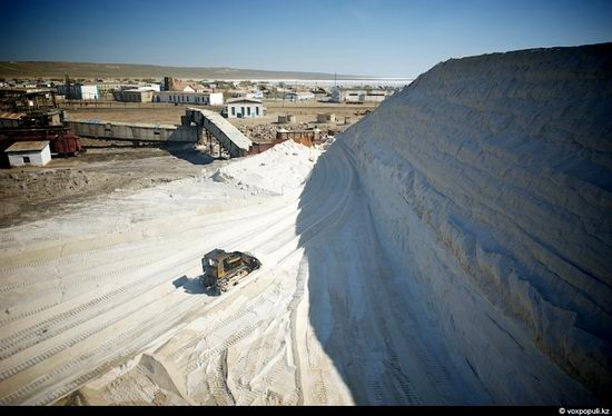 Salt production, the Aral Sea area, Kazakhstan view 11