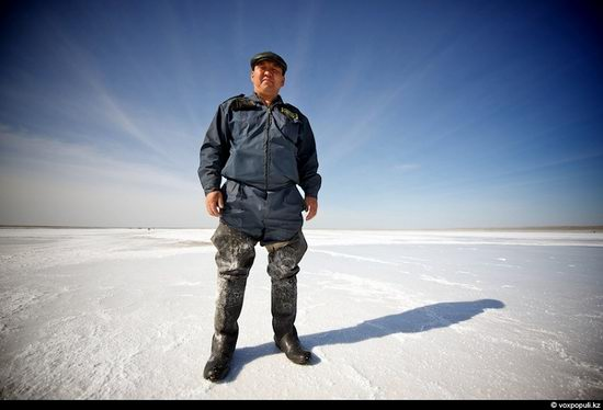 Salt production, the Aral Sea area, Kazakhstan view 3