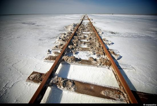 Salt production, the Aral Sea area, Kazakhstan view 4