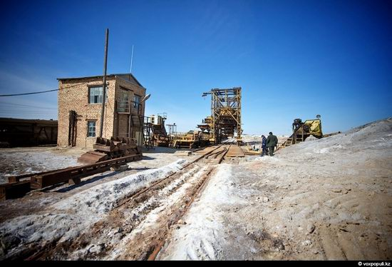 Salt production, the Aral Sea area, Kazakhstan view 8
