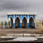 Bus stops in the steppes of Kazakhstan