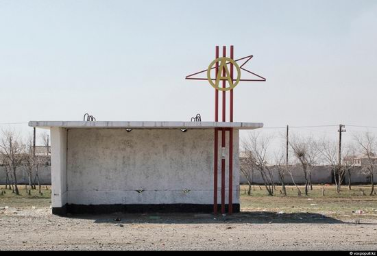 Bus stop in Kazakhstan steppe view 10