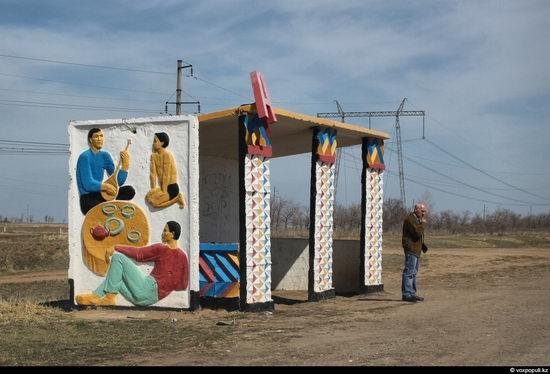 Bus stop in Kazakhstan steppe view 12