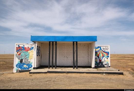 Bus stop in Kazakhstan steppe view 13