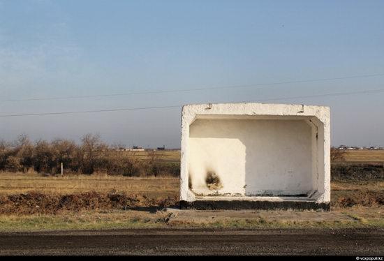Bus stop in Kazakhstan steppe view 14
