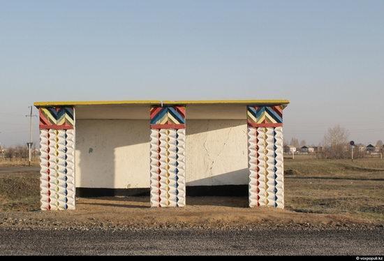 Bus stop in Kazakhstan steppe view 15