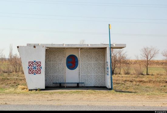 Bus stop in Kazakhstan steppe view 16