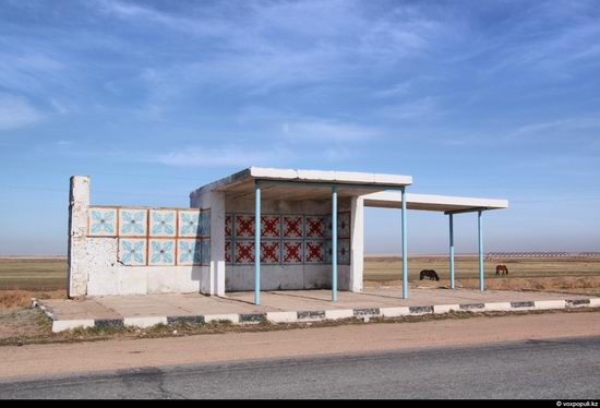 Bus stop in Kazakhstan steppe view 19
