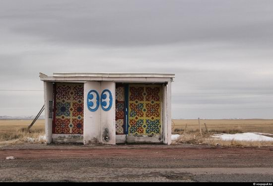Bus stop in Kazakhstan steppe view 2