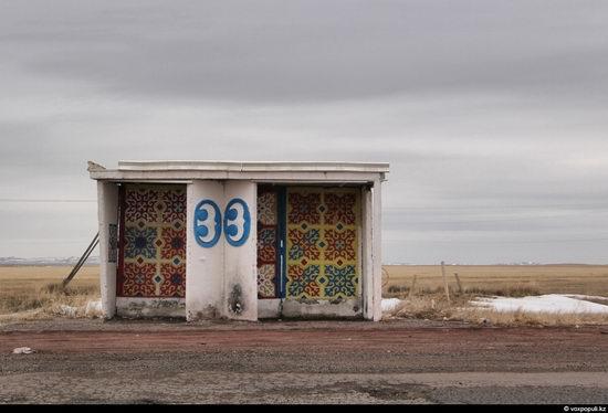 Bus stop in Kazakhstan steppe view 2