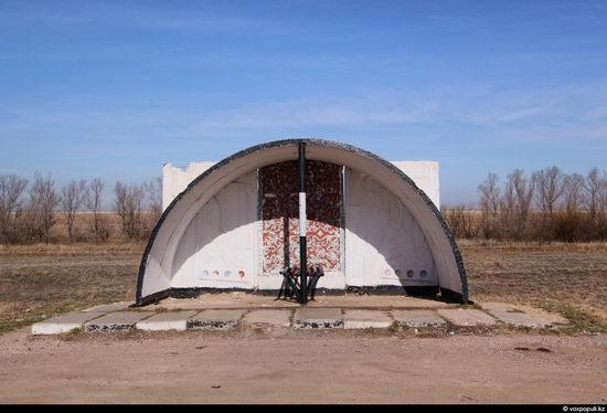 Bus stop in Kazakhstan steppe view 20
