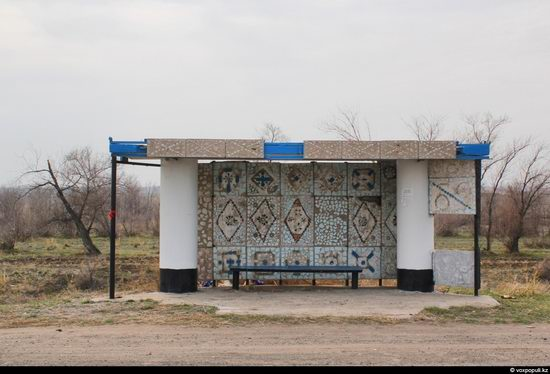Bus stop in Kazakhstan steppe view 21