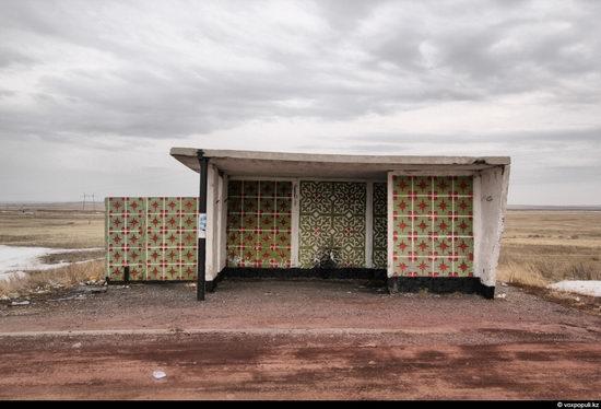 Bus stop in Kazakhstan steppe view 5