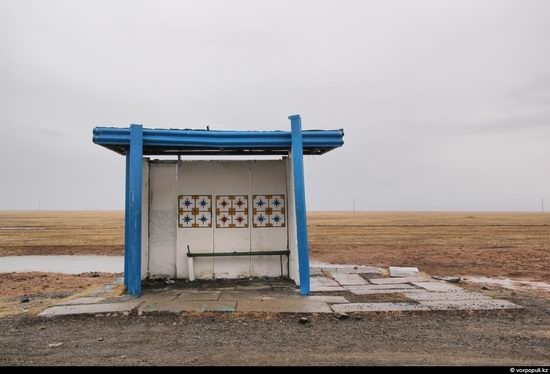 Bus stop in Kazakhstan steppe view 6