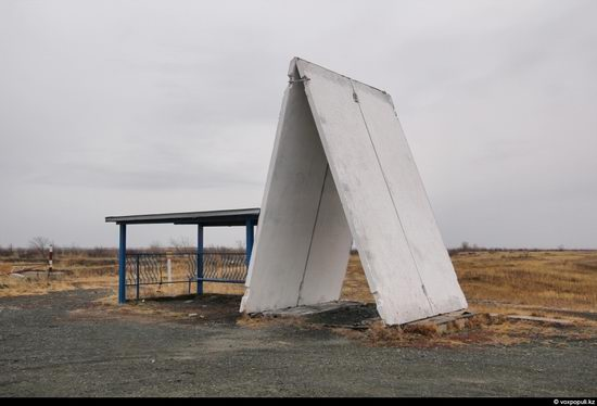 Bus stop in Kazakhstan steppe view 7