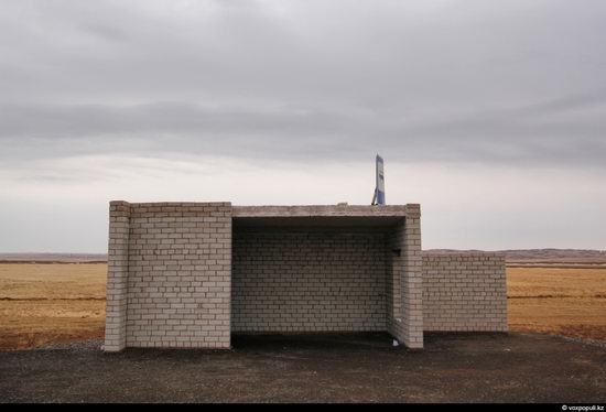 Bus stop in Kazakhstan steppe view 9