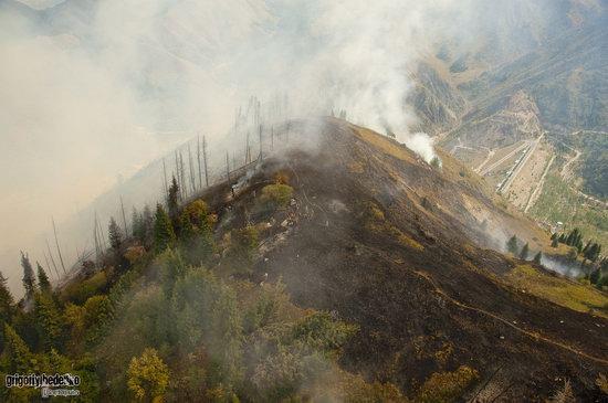 Large wildfire, Medeo, Almaty, Kazakhstan photo 12