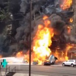 Large fire in the center of Almaty