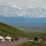 Walking along the mountain passes of Kazakhstan