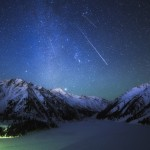 Winter night in the mountains of Kazakhstan