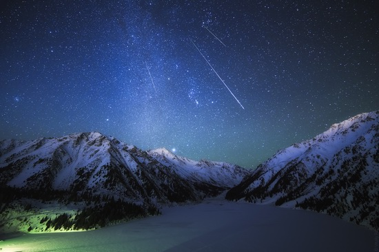 Winter night in Kazakhstan mountains