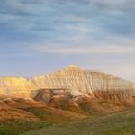 White cliffs of Aktolagay mountain ridge