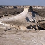 Bizarre chalky mountains of Boszhira in Western Kazakhstan