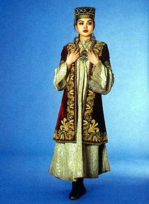 Kazakhstan people national clothes: woman's national dressings