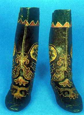 Kazakhstan people national clothes: national boots