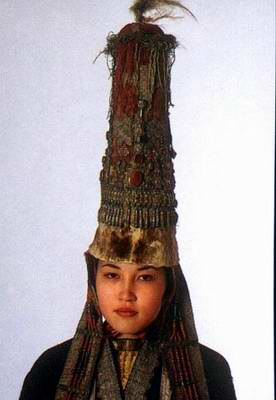Kazakhstan people national clothes: woman's wedding head-dress