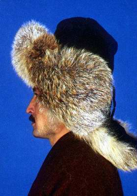 Kazakhstan people national clothes: man's fur head-dress