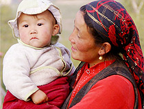 Kazakhstan mother and child scenery