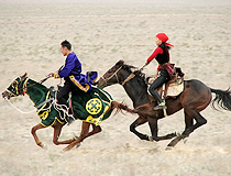 Kazakhstan people and horses